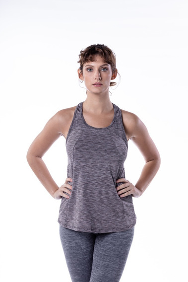 Musculosa Deportiva Mujer Gris Oscuro Mizu