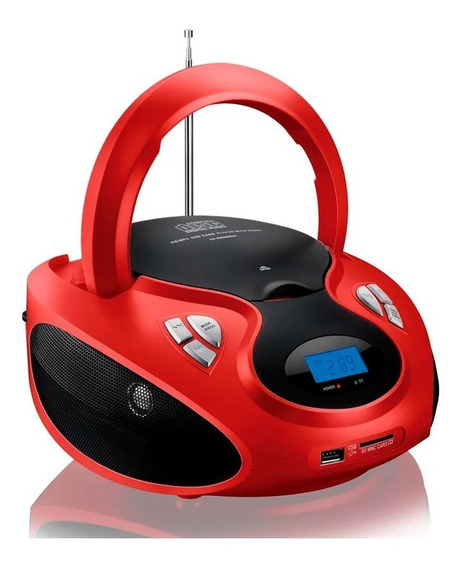 Caixa Som Boombox 20w Rms Cd/usb/sd/fm/aux Vermelha E Preta