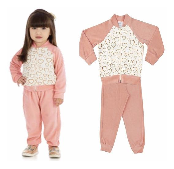 Conjunto Infantil Menina Jaqueta Calça Plush Rovitex 01 A 03