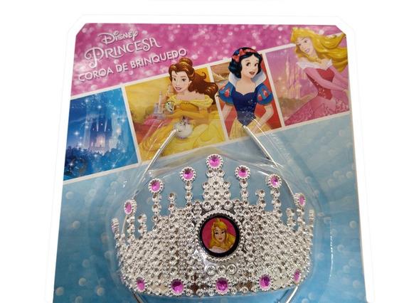 Coroa Tiara Arco Infantil Princesa Disney Brilhante Rosa