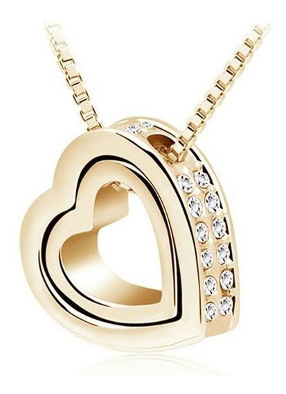 Colar Feminino Pingente Coração Cravejado Zircônias Joia 580