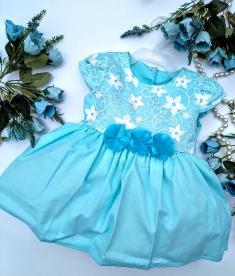 Vestido Bebê Festa Turquesa Renda Flores Da Paraíso G Primavera/ Verão
