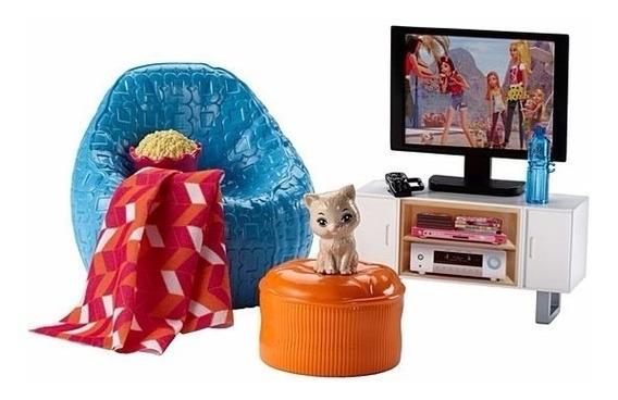 Brinquedo Barbie Acessórios Sala De Televisão Cinema Dvx46