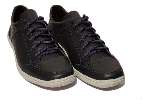 Zapatillas Urbanas Darmaz 3064 100% Cuero Negro Azul Y Suela