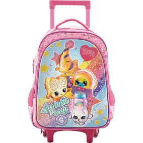 Mochila Escolar Infantil Rodas Shopkins Sprinkle 6791 Rosa