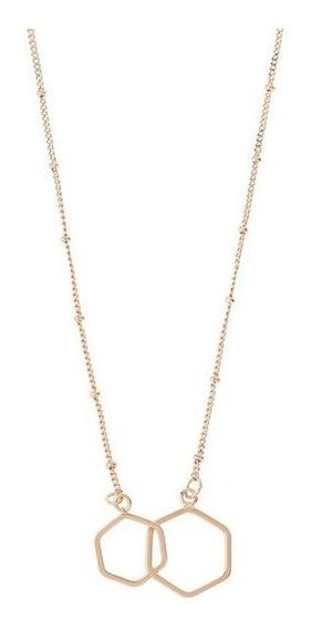 Nice Collar 2 Dijes Hexagonos Entrelazados Baño De Oro 18 K