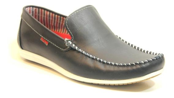 Zapatos Pizzoni 7090 Mocasines Náuticos Livianos Cuero Goma