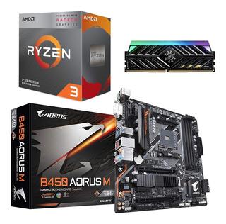 Kit Amd Ryzen 3 3200g + B450 Aorus M + Ram 8gb 3000 Mhz Rgb