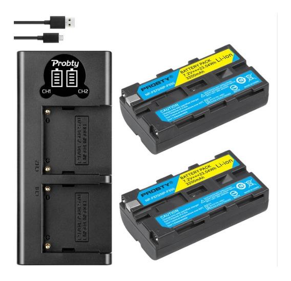 Carregador Duplo Lcd + 2 Baterias 3200mah Np-f550 P/ Sony