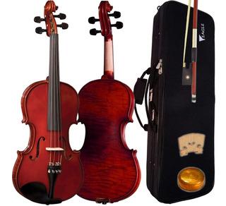 Violino Tradicional Ve144 4/4 Evernizado Eagle Com Estojo