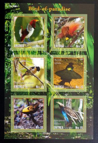 Eritrea Aves Bloque 6 Sellos S Dentar Paraíso 17 Mint L10022