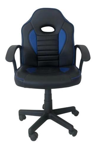 Imagen 1 de 2 de Silla de escritorio Tedge 435878 gamer ergonómica  negra y azul con tapizado de cuero sintético