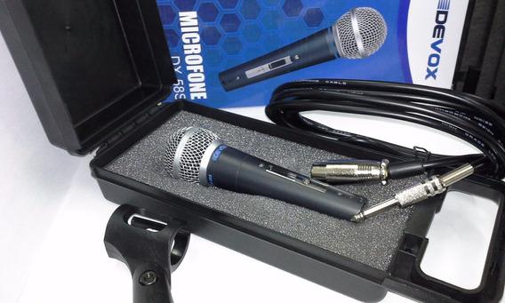 Microfone Profissional 58 Com Fio 5m Cabo + Estojo + Suporte