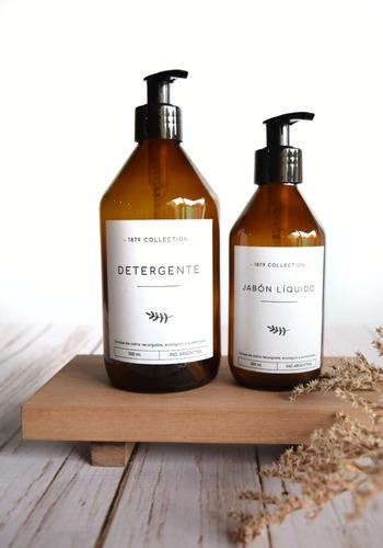 Set Dispenser De Vidrio Ámbar Detergente Y Jabón Liquido