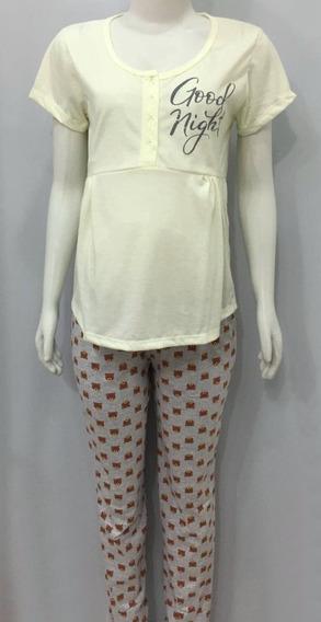 Pijama Gestante Amamentação Maternidade -blusa Botão E Calça
