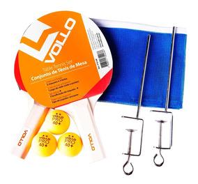 Kit De Tênis De Mesa Vollo 2 Raquetes 3 Bolas E Rede Vt610-r