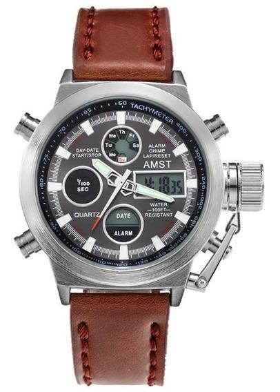 Relógio Masculino Amst 3003 Militar Esportivo - Cromado