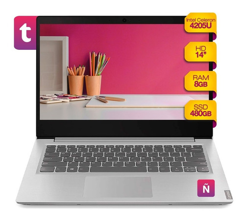 Imagen 1 de 5 de Notebook Lenovo Celeron 14 Ssd 480gb Ram 8gb Win 10
