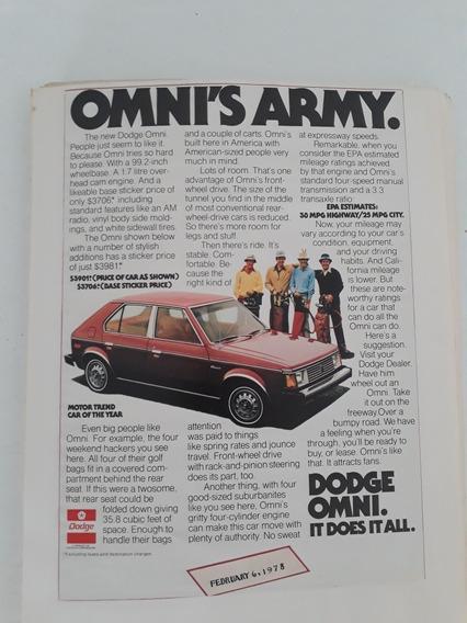 Propaganda Antiga Dodge Omnis Army 1978 Raro Anúncio