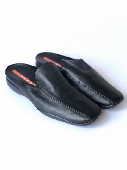 Slippers Prada Mujer Cuero Negro Made In Italy