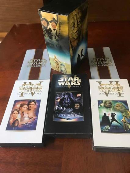 Fita Vhs Star Wars Trilogia Iv, V E Vi Box Original