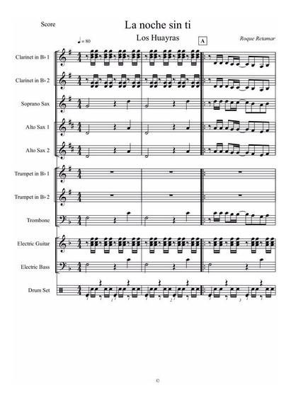 La Noche Sin Ti - Los Huayras - Partitura Para Banda