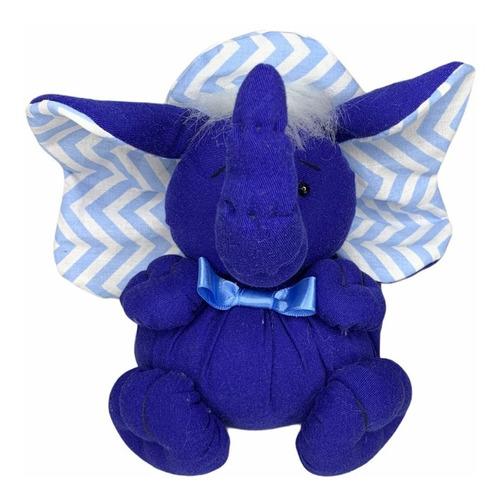 Elefante Pelúcia  Azul Infantil Feito De Tecido Reutilizável