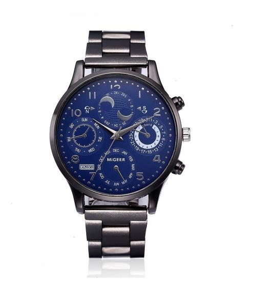 Relógio Casual Masculino Quartz Aço Inoxidável Bem Barato