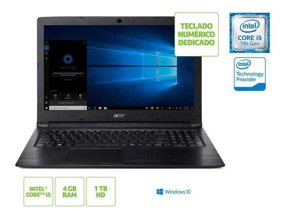 Notebook Acer A315-53-55dd I5 7200u 4gb 1tb Win10 15.6 Hd Pr