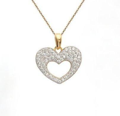 Colar Coração De Ouro Amarelo 18k/750 E Diamantes