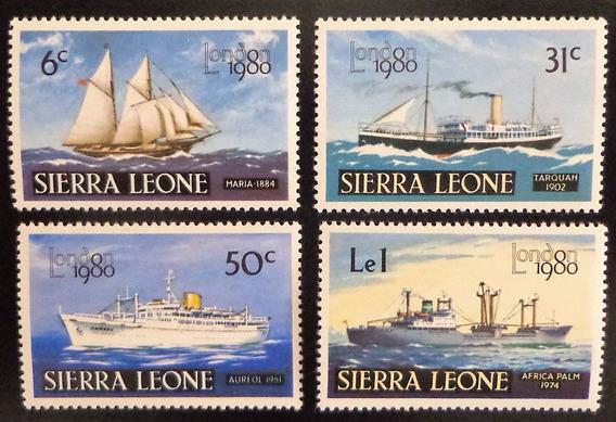 Sierra Leona Barcos, Serie Sc 481-4 Expo Lond 80 Mint L10291