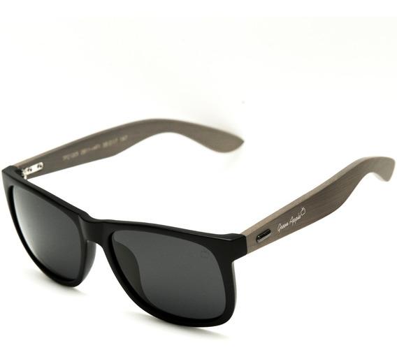 Óculos De Sol Quadrado Masculino Bambú Preto Marrom 21pm