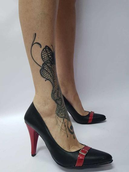 Stiletto Taco Aguja Negro Con Rojo Stampa Woman