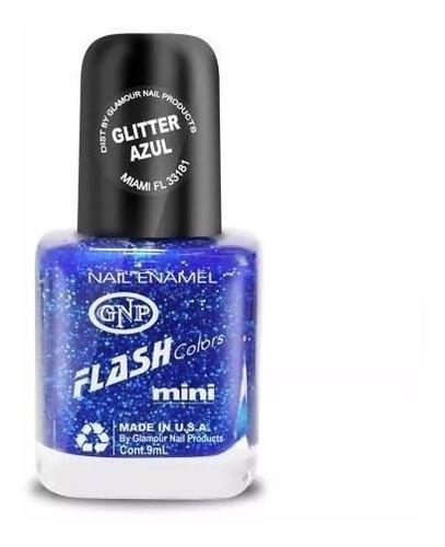 Imagen 1 de 4 de Esmalte Flash Colors De Gnp 9ml Glitter Azul