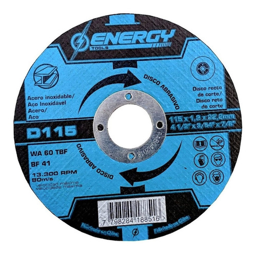 Imagen 1 de 4 de Discos De Corte 4 ½'' Acero Energy 1.2mm Caja X 10 Uni - Tyt