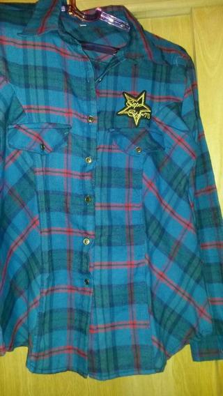 Camisa Escocesa Bordada Azul Talle Grande Xxl