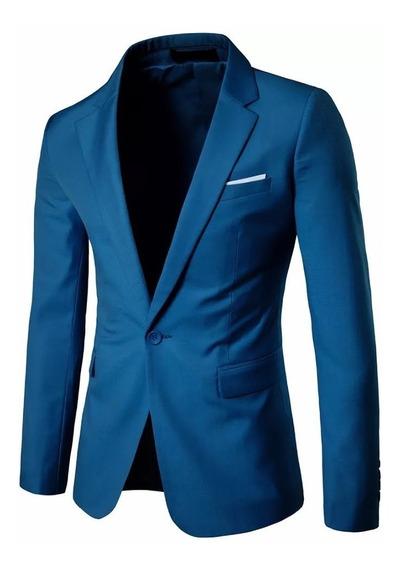 Blazer Slim Fit Masculino Casual Azul Pronta Entrega