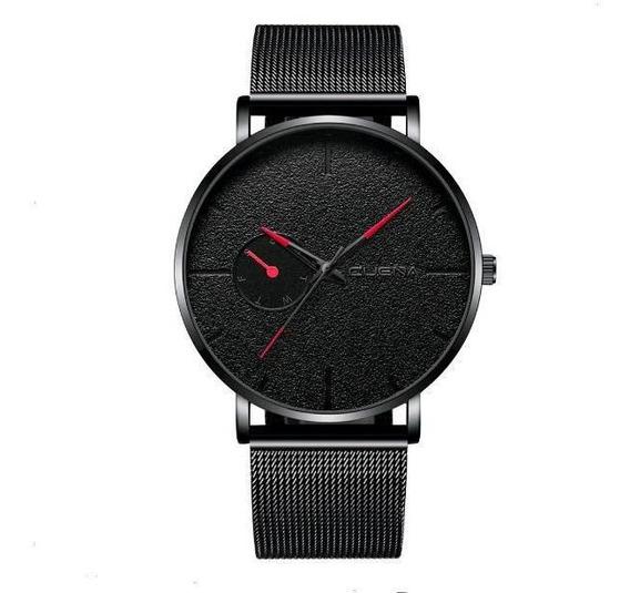 Relógio Masculino Total Black Malha De Aço Vermelho