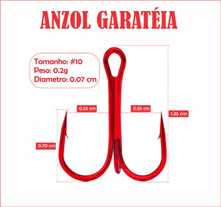 Anzol Garatéia (três Ganchos) - 50 Unidades