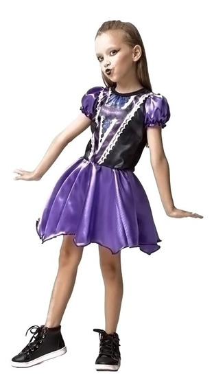Roupa De Bruxa Morceguinha P/ Halloween Infantil De 2 Ao 12