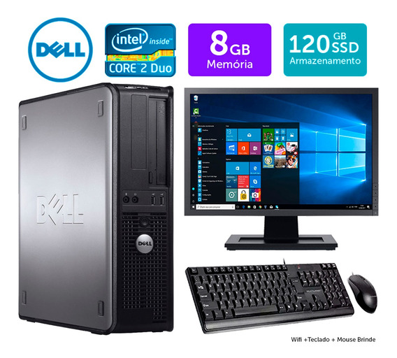 Desktop Usado Dell Optiplex Int C2duo 8gb Ddr3 Ssd120 Mon19w