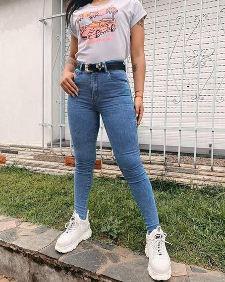 Pantalón Jean Mujer Las Locas Klein Tiró Alto Elastizado Cal