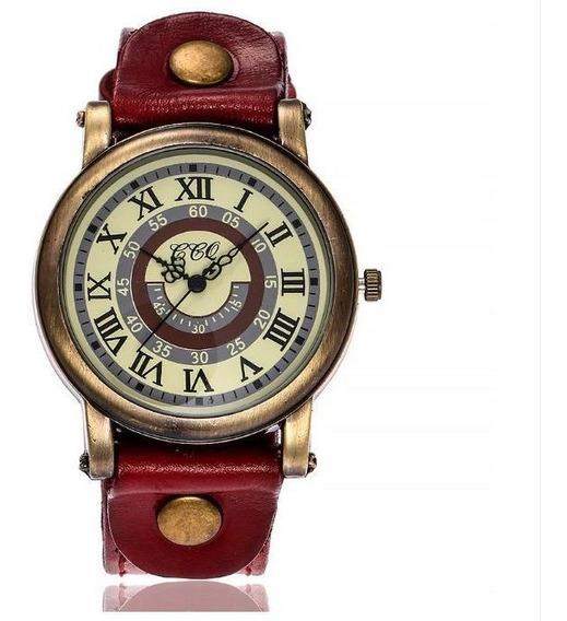 Relógio De Pulso Feminino Vintage De Couro Vermelho Escuro