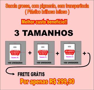 Sacolas Plásticas Personalizadas ( Tam P + Tam M + Tam G )
