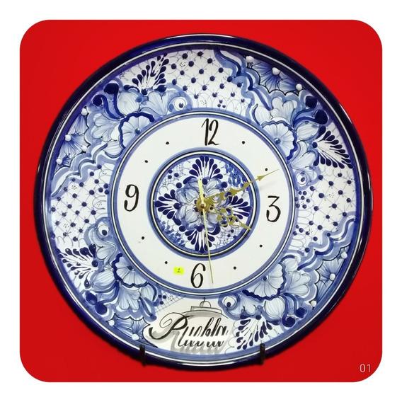 Reloj De Talavera Poblana Redondo Azul C/ Puebla 30cm M1 Rlj