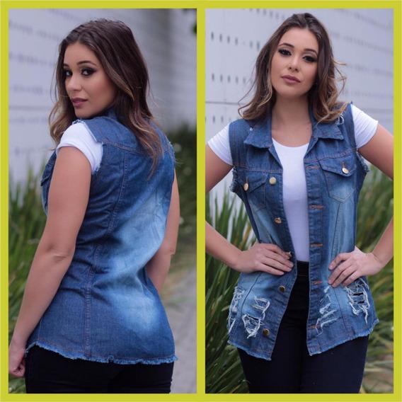 Colete Jeans Feminino Maxi Moda Blogueiras Instagram