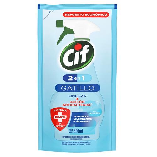 Imagen 1 de 2 de Limpiador Cif 2 en 1 Acción Antibacterial repuesto 450ml