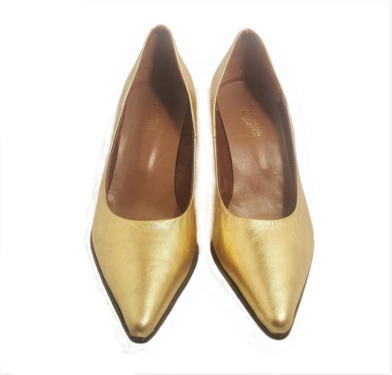 Zapatos Stiletto Cuero Dorado Taco 7 Cm Mujer N°35