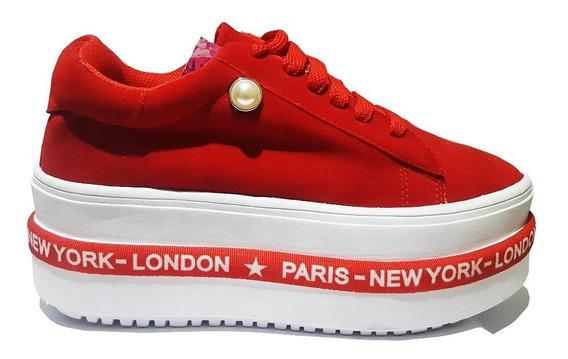 Zapatos Plataforma Gamuza Alta Zapatillas New York Moda 2020