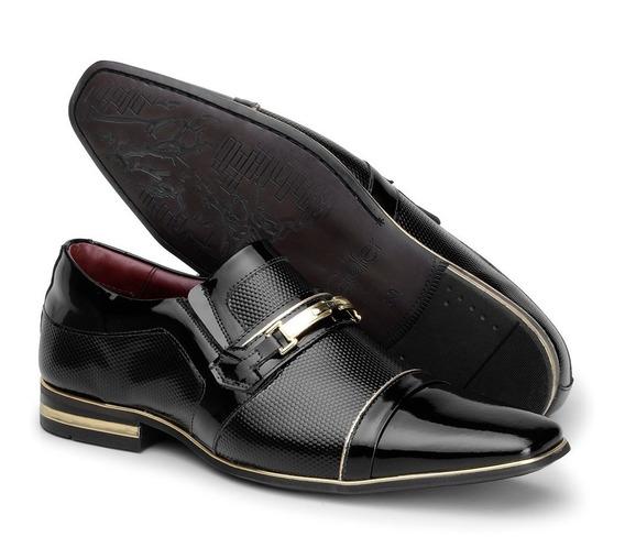 Sapato Social Masculino Verniz Preto Com Dourado Couro 12263